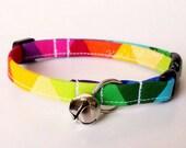 Rainbow Cat Collar, Breakaway Cat Collar, LGBT Pride Cat Collar, Colorful Cat Accessories, Pet Accessories, Adjustable Fabric Cat Collar