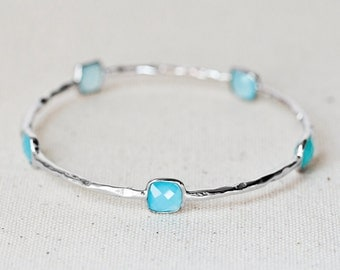 NEW!!! Blue Chalcedony Gemstone Bangle - Gold Vermeil or Sterling Silver Finish