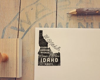 Idaho Return Address State Stamp - Personalized Rubber Stamp