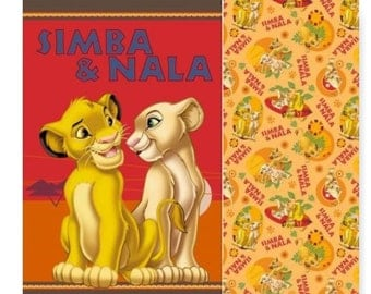 "Disney Lion King Simba and Nala Cotton Fabric or  Panel 43""x36""  Springs Creative U Choose"