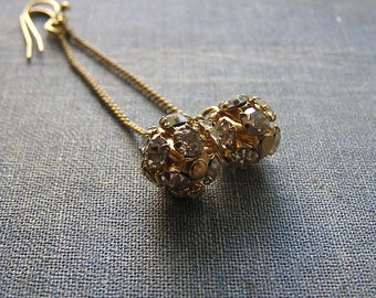 Vintage gold plated rhinestone Earrings Long 2 1/2 inch