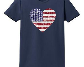 Heart Flag Graphic Tees Ladies Country Patriotic Short Sleeve High Quality Cotton T Shirts Small - XL Plus Sizes 2XL 3XL 4XL