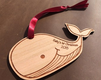 Baby's First Christmas Ornament Laser Engraved Wood Ornament Custom Christmas Ornament