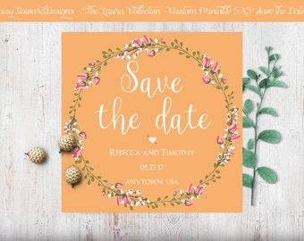 Custom Printable Square Save the Date Card - The Laura Collection