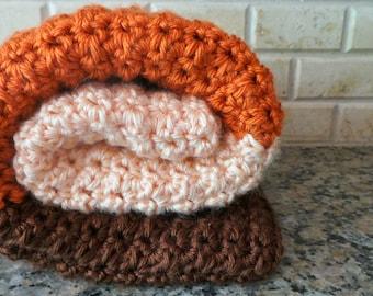 Crochet Baby Blanket, Baby Blanket, Pink, Orange, and Brown