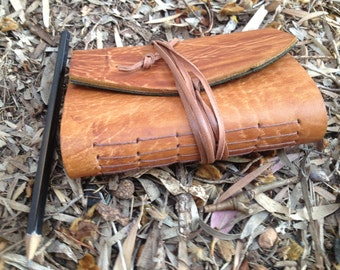 Woodgrain Leather Journal - recycled vintage leather and paper