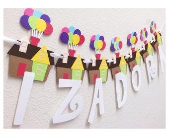 Adventure Awaits Birthday Banner ; Balloon Birthday Party Banner ; Custom Name Happy Birthday Banner