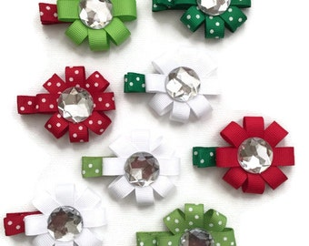 Small Christmas Bows - Assorted Christmas Hair Clips - Christmas Hair Accessory for Girls - Red and Green Hair Clips - Christmas Accessories