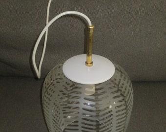 Vintage Mid Century Modern Hanging Globe Fixture , Etched Pattern