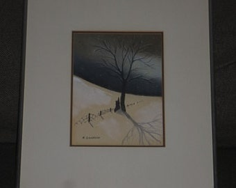 Vintage Charcoal Pastel Drawing Painting signed Quebec Canadian Artist Rita Gosselin