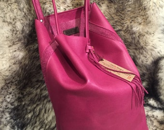 Leather Tote Bag in Pink Raspberry