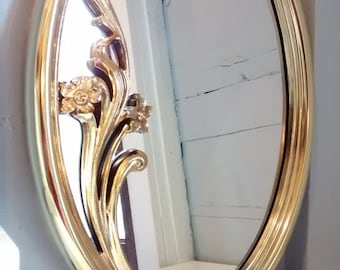 Vintage, Mirror, Large, Oval, Wall Mirror, Floral Design, Gold, Hollywood Regency, Mid Century, Retro, RhymeswithDaughter
