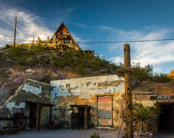 An old mine and house in Oatman, Arizona. | Photo Print, Stretched Canvas, or Metal Print.