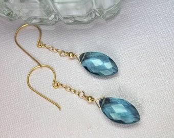 Blue Quartz Earrings, London Blue Quartz, Long Blue Earrings, Large Quartz Dangle Earrings, 14k Gold Filled