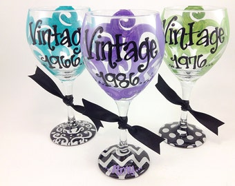 Free Personalization - Vintage 1986 1976 1966 30th 40th 50th Birthday Wine Glass Chevron Damask Dots Monogram Personalized 30 40 50