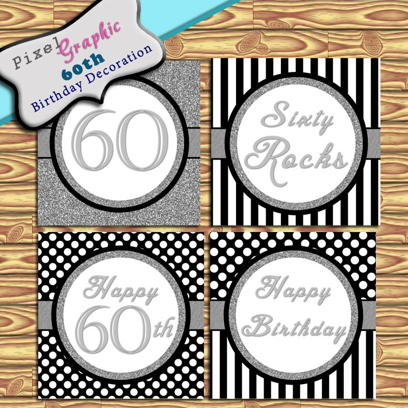 60th birthday decoration instant download black silver for 60th birthday decoration