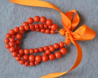 orange pearl Bracelet,orange ribbon Bracelet,glass pearl bracelet,triple strand pearl bracelet,bracelet,wedding bracelet,bridesmaid bracelet
