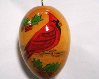 Cardinal Christmas Ornament, Hand Painted Wood Ornament, EGO-17