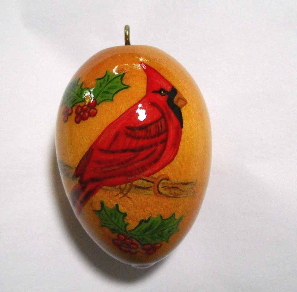 cardinal christmas ornament hand painted wood ornament. Black Bedroom Furniture Sets. Home Design Ideas