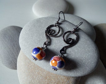 Ceramic bead earrings and copper/galvanized hand painted Earrings # 2