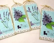 Set of Four Bookmarks - Lavender and Lilac Bookmarks - Vintage Style - Flower Bookmarks - Newsprint - Set of 4 - Garden Lovers