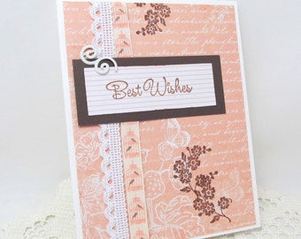 Best Wishes Card - Wedding Card - Celebratory Card - Engagement Card - Peach and White - Vintage Style - Brown Accents - Bird Cage Theme