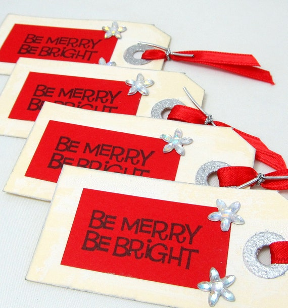 Holiday Gift Tags - Christmas Gift Tags - Set of 4 Gift Tags - Be Merry Be Bright - Red Tags - Red and Silver Tags - Holiday Gift Giving