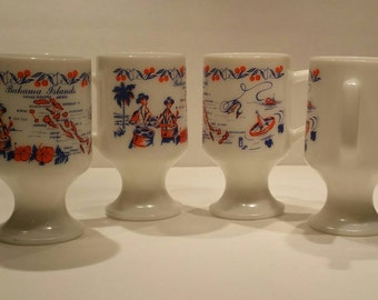 Vintage milk glass Bahamas mugs