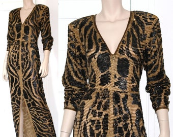 80s Lillie Rubin sheer silk leopard sequined runway gown - xs or small