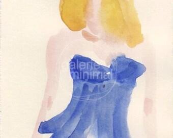 MiniMal Original Watercolor Painting on Paper - Original Female Figure Art - Lingerie - Fashion Illustration - Size  4.9x6.8