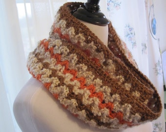 Infinity Cowl, Infinity Scarf, Crocheted Cowl in Super Soft Acrylic, Tangerine, Toast & Cream, READY to SHIP, Gift for Her