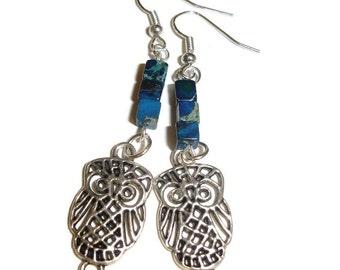 Owl earrings dangle owl earrings gemstone owl earrings blue owl earrings silver owl earrings drop earrings dangle earrings ladies earrings