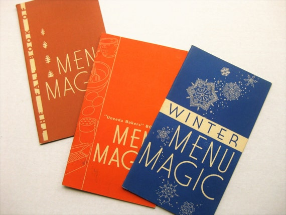 1930s Menu Magic booklets. Uneeda Bakers. National Biscuit Co. Fall and Spring menus. Appetizers.