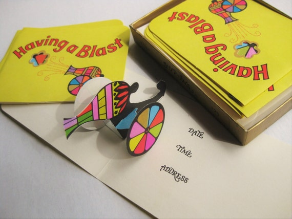 Pop-up cards. 8 vintage invitations. Small Norcross Pop-Ins invitations. Having a Blast! 3-D. Cannon. 70s stationery.
