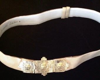 """Judith Leiber 1 1/2"""" Beige Reptile Adjustable Strap and Gold 2 piece Buckle."""