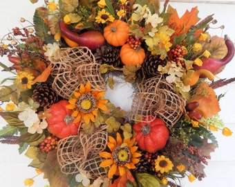 "Fall Wreath""Joyful Harvest""Pumpkin Wreath,Fall Front Door Wreath,Sunflower Wreath,Thanksgiving Wreath, Country Wreath, Autumn Wreath-Ex.Full"