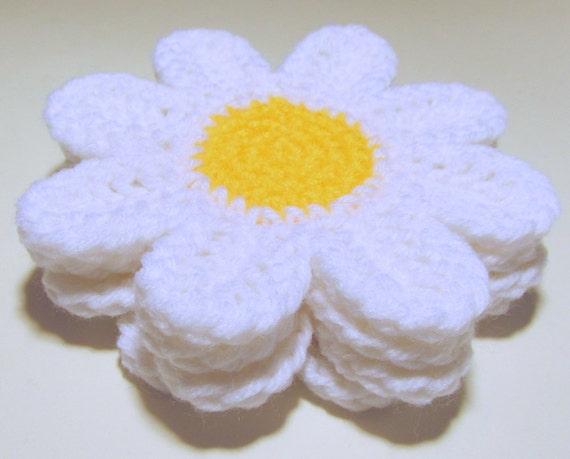 Free Crochet Daisy Coaster Pattern : Daisy Coasters PDF Crochet Pattern INSTANT DOWNLOAD