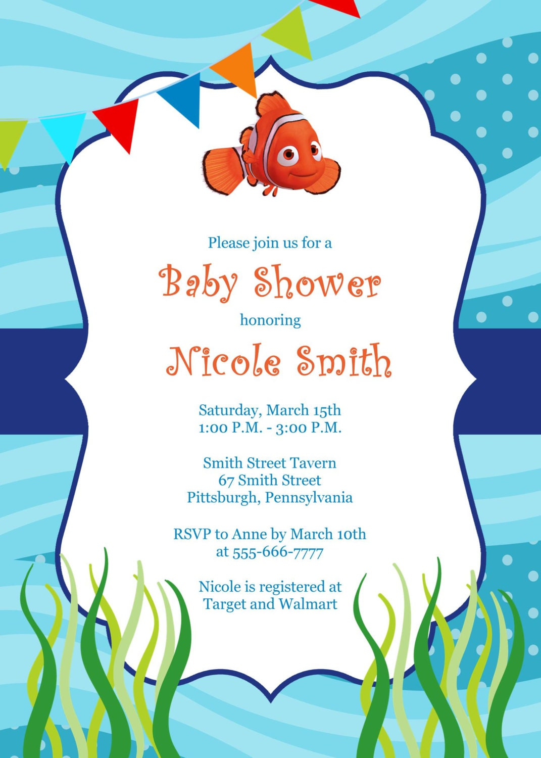 finding nemo baby shower invitation by mypapergardenllc on etsy