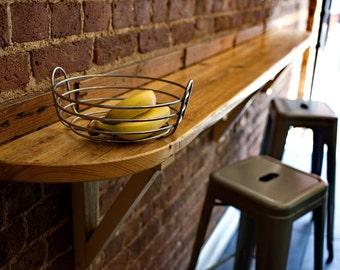 Reclaimed wooden breakfast bar.