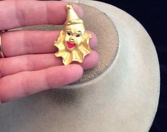 Vintage Enameled Clown Pendant