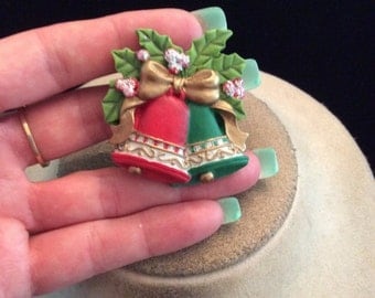 Vintage Ceramic Christmas Bells Holly Pin