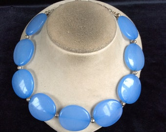 Vintage Chunky Blue Flat Beaded Necklace