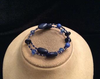 Vintage Shades Of Blue Glass Beaded Wrap Bracelet