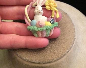 Vintage Colorful Easter Bnnny In Basket Tac Pin