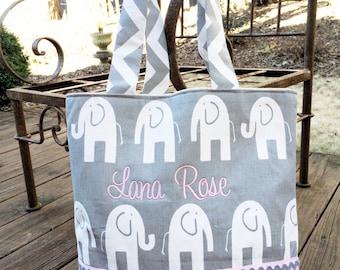Gray Elephants/ Chevron Diaper Bag- Custom Made to Order