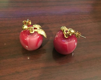30% DISCOUNT SALE Cute Vintage Avon Red Apple Swirl Earrings (#2)