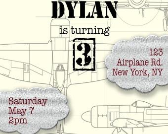 Airplane Theme Birthday Invitation