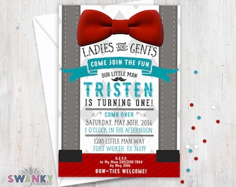 Little Man First Birthday Invitations, Boys First Birthday Invitation, Bowtie Theme Birthday, Red, Gray and Turquoise, Little Man Theme