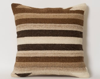 Kilim Pillow Cover - Ethnic Home Decor Handwoven Wool Turkish Kilim Striped Embroidery Pillows Brown Ivory Beige Natural Earth Colors