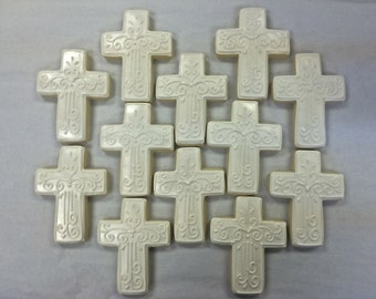 Cross Cookie Favors for Baptism, Confirmation Cookies, Religious Party Favors, First Communion Cookies for Boys or Girls Cross Cookie Favors